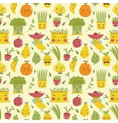 Food seamless pattern with fruit and vegetables vector
