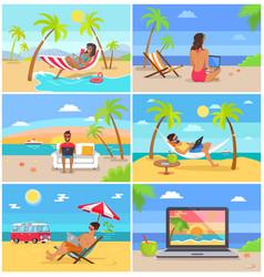 Freelancers in swimwear work in summer at beach vector