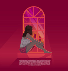 Girl looking out through window during sunset vector
