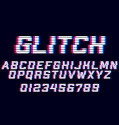 Glitch alphabet font with distortion effect vector
