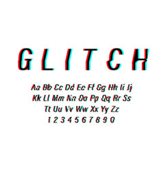 Glitch font on white background alphabet letters vector