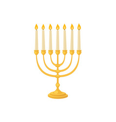 Golden jew menorah with candles hebrew religion vector