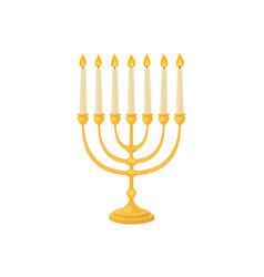 Golden jew menorah with candles hebrew religion vector