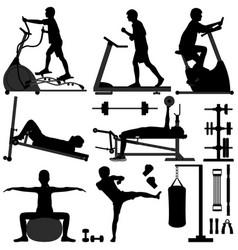gym gymnasium workout exercise man man working vector image