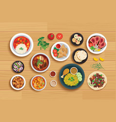 Halal food set on top view wooden table background vector