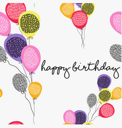 Happy birthday greeting card with party balloons vector