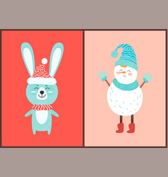 Happy hare and white snowman vector