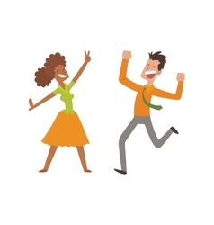 Happy jumping people set vector image