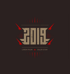 happy new rocknroll 2019 - music poster with vector image