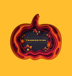 happy thanksgiving holiday background 3d layered vector image