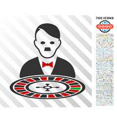 Hitler roulette croupier flat icon with bonus vector