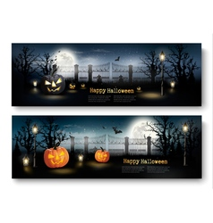 Holiday Halloween Banners with Pumpkins and Wooden vector