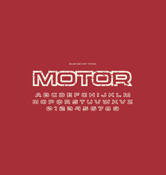 Hollow sans serif font in racing style vector