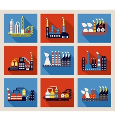 Industrial factory buildings and refineries vector