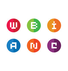 initial letter w b i a n c logo icon set of vector image