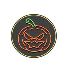 jack-o-lantern neon sign circle vector image