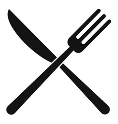 Knife cross fork icon simple style vector