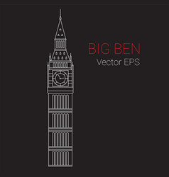 Line icon big ben tower london vector
