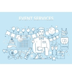 Line style design concept of special event and vector image