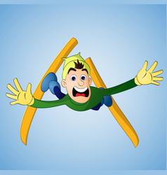 man falling in ski jump vector image