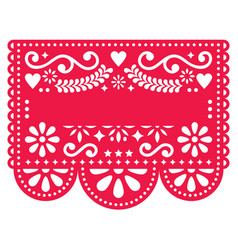 mexican papel picado template design vector image