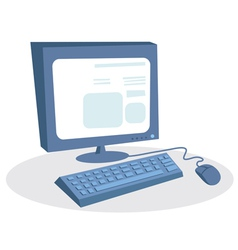 Monitor keyboard and mouse desktop computer vector