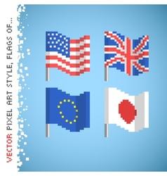 pixel art style color flag set vector image