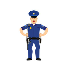 Police officer angry emoji isolated policeman vector