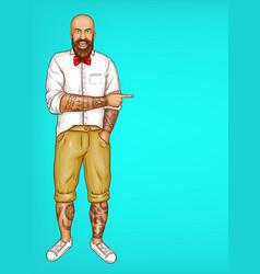 Pop art tattooed bald bearded man vector