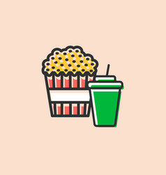 Pop corn box and soft drink icon vector