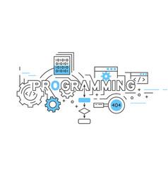 programming flat line design in blue vector image