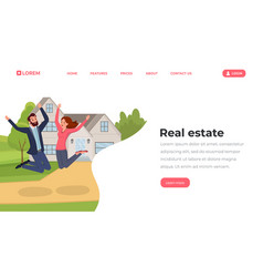 real estate flat landing page template young vector image
