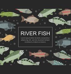 River fish banner template seafood market shop vector