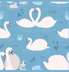 Seamless pattern with white swans singles vector
