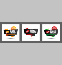 set black friday sale banner template isolated vector image