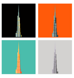 Set of burj khalifa tower icon uae dubai symbol vector