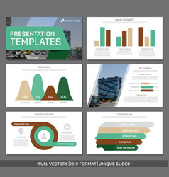 Set of green and brown elements for multipurpose vector