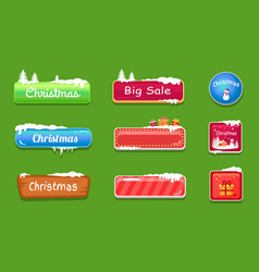 set of winter theme web push button covered snow vector image