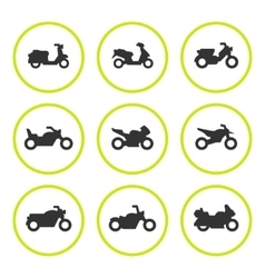 Set round icons of motorcycles vector
