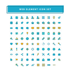 set web element icons with filled outline vector image