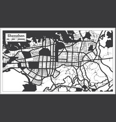 shenzhen china city map in black and white color vector image