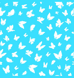 silhouette fly flock of butterflies seamless vector image
