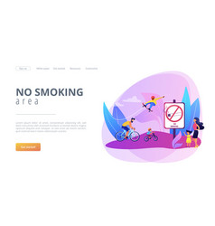 Smoke free zone concept landing page vector