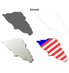 Sonoma County California outline map set vector
