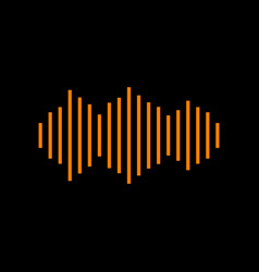 sound waves icon orange icon on black background vector image