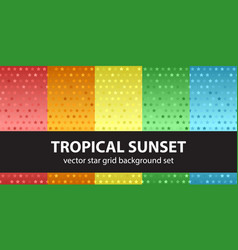 Star pattern set tropical sunset seamless vector