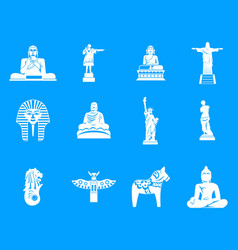 statue icon blue set vector image