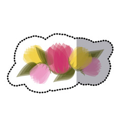 Sticker blurred tulips floral design with leaves vector