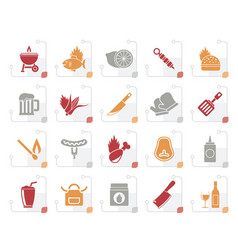 Stylized grill and barbecue icons vector