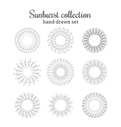 Sunburst collection Retro rays frames vector image